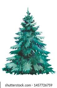 Watercolor Christmas tree for Christmas stuff