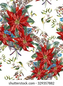 Watercolor Christmas vintage floral seamless pattern with blue berries, poinsettia, feathers and bird red cardinal. Botanical watercolor illustration