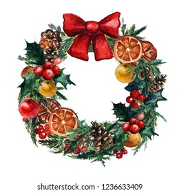 watercolor Christmas wreath with christmas balls, pinecone misletoe and branches of Christmas trees