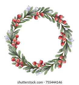 Watercolor Christmas wreath of branches boxwood with red berries and snowberry on a white background. Beautiful and bright  frame for your holiday, warm wishes and design