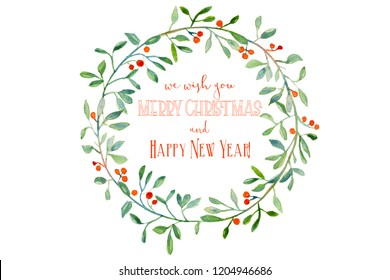 Watercolor Christmas wreath with branches and red berries with greeting text