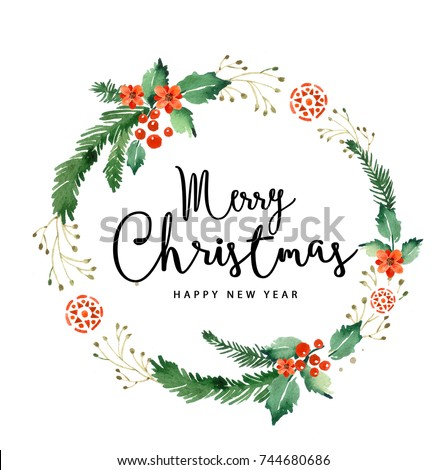 Watercolor Christmas Wreath Card Merry Christmas Stock Illustration