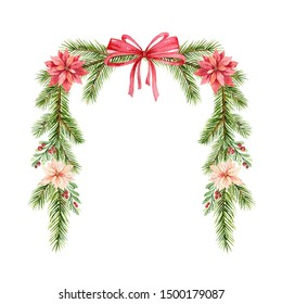 Watercolor Christmas wreath with fir branches and flowers of poinsettia. Illustration for greeting floral postcard and invitations isolated on white background.