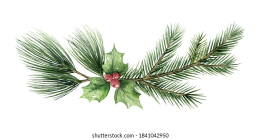 Watercolor Christmas wreath with fir branches and green leaves. Hand painted illustration for greeting floral postcard and invitations isolated on white background.