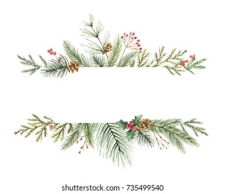 Watercolor Christmas wreath with fir branches and place for text. Illustration for greeting cards and invitations isolated on white background.