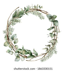 Watercolor Christmas wreath with fir, eucalyptus and dry branches. Hand painted holiday frame with plants isolated on white background. Floral illustration for design, print, fabric or background.