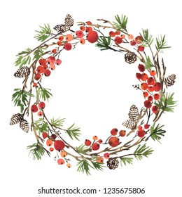 Watercolor Christmas wreath of fir tree branches, pine cones and holly berries