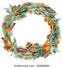 watercolor Christmas wreath with fir tree, oranges, cinnamon, pine cones, ribbon, round frame, holiday Christmas