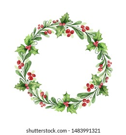 Watercolor Christmas wreath with green branches and red berries. Illustration for greeting floral postcard and invitations isolated on white background.