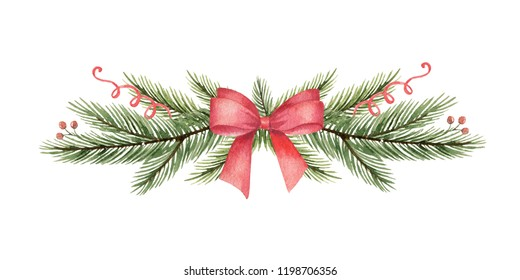 Watercolor Christmas wreath with green fir branches and red bow. Illustration for greeting cards and invitations isolated on white background.