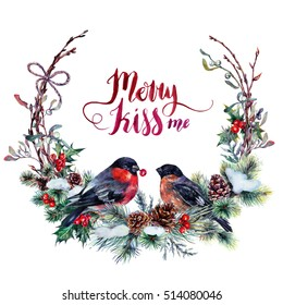 Watercolor Christmas Wreath made of Snow Spruce Branches, Cones, Red Holly Berries, Mistletoe Leaves and Dry Twigs with a Couple of Bullfinches. Festive Decoration Isolated on white. Vintage Style.