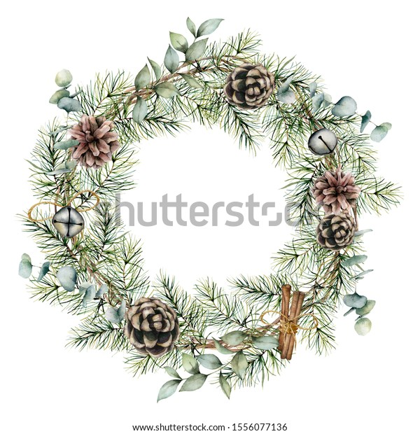 Watercolor Christmas wreath with pine cones decor. Hand painted card with bells, cinnamon, eucalyptus and pine branches isolated on white background. Floral illustration for design or print