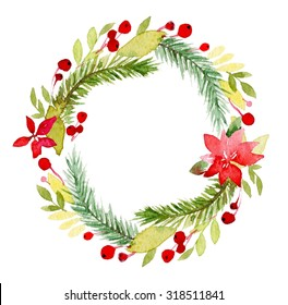 Watercolor Christmas Wreath Images Stock Photos Vectors