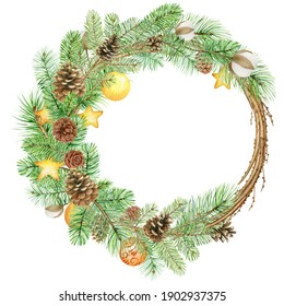 Watercolor christmas wreath with spruce branches, pine cones and decorations, hand drawn illustration isolated on white background, perfect for invitation cards, any print design