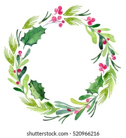 Watercolor Christmas Wreath with spruce branches and mistletoe branches on a white background isolated