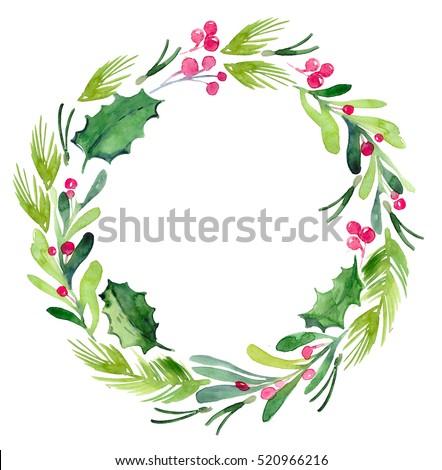 Watercolor Christmas Wreath Spruce Branches Mistletoe Stock