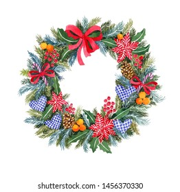 Watercolor Christmas wreath. With toys, bows, Christmas tree branches