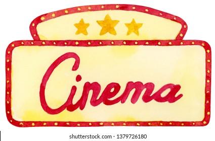 Watercolor Cinema Marquee Illustration