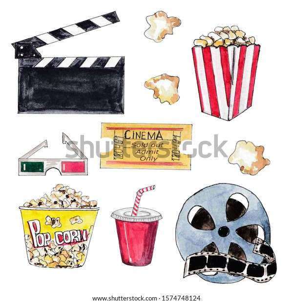 Watercolor Cinema Movie Clipart Cola Popcorn Stock Illustration 1574748124