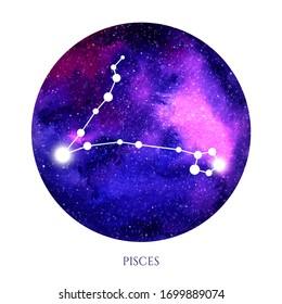 Watercolor circle with galaxies and stars zodiac constellations.Horoscope  Aries, Leo, Sagitarius, Capricorn, Taurus, Virgo, Libra, Aquarius, Gemini, Cancer, Scorpio,Pisces