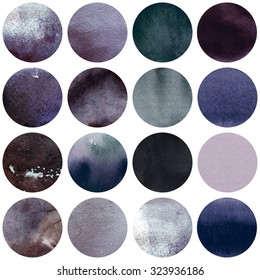 Watercolor circles collection in grey colors. Watercolor stains set isolated on white background. Watercolour texture palette. Seamless retro geometric pattern, wrapping paper.