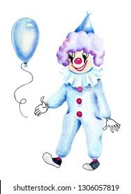 Watercolor circus clown and blue  air balloon, watercolor design