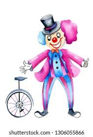 Watercolor circus clown and monocycle, watercolor design