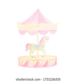 Watercolor circus horse and pink merry-go-round hand painted isolated on white background. Cute unicorn for birthday invitation, party, baby shower design.