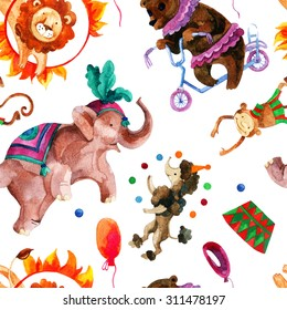 Watercolor circus seamless pattern. Cartoon elephant, monkey, lion, bear and dog. Hand painted illustration