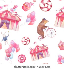 Watercolor circus seamless pattern. Hand drawn texture with air balloons, sweet donuts, party cupcakes and cartoon animals: bear on bicycle and white rabbit with magic wand. Carnival wallpaper design