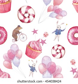 Watercolor circus seamless pattern. Wallpaper with party air balloons, donuts, cupcakes and fantasy cartoon animals on white background. Hand drawn vintage texture.