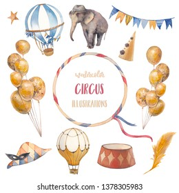 Watercolor circus set. Hand drawn illustrations: trained elephant, flags garland, hot air balloons and party hat. Isolated retro style objects