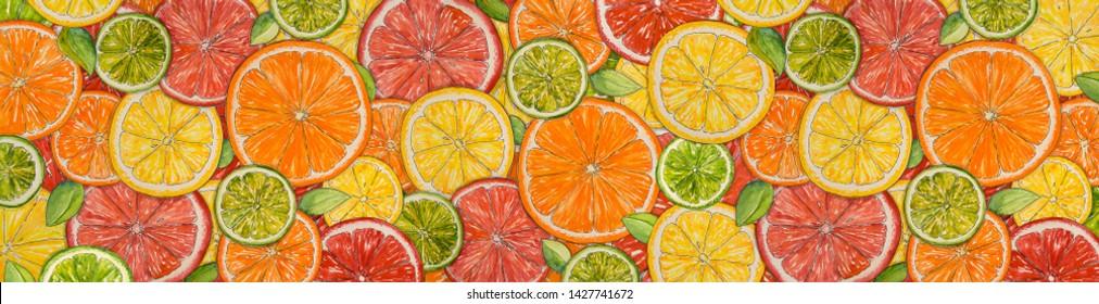 Watercolor citrus background. Paint  texture. Hand drawn oranges, lemons, limes, mandarins, grapefruits. Web banner. Bright watercolor stains