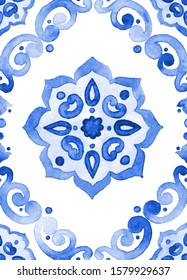Watercolor classic blue background Filigree seamless pattern, indigo renaissance tiling ornament. Delicate sapphirine openwork lace pattern. Cobalt blue revival tracery design.