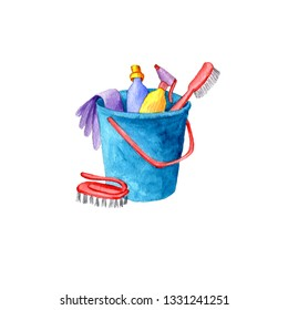 watercolor cleaning set isolated at white background
