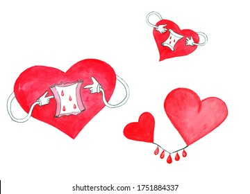 Watercolor clip art with different red hearts and drops of blood isolated on white background.