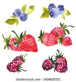 Watercolor clip art selection of summer berries. Strawberries, blueberries and raspberries