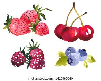Watercolor clip art selection of summer berries. Strawberries, blueberries, raspberries and cherries