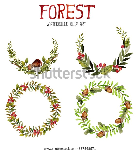 watercolor clipart cute forest elements hand stock illustration 667548571 https www shutterstock com image illustration watercolor clipart cute forest elements hand 667548571