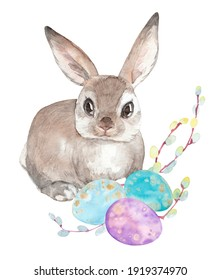 Watercolor clipart with Easter bunny, colorful eggs and willow branches.