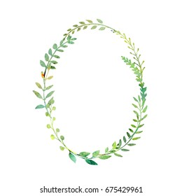 a watercolor clipart; an oval wreath isolated on white background; made of hand painted wild flowers; a herbal floral composition great to place texts or logos