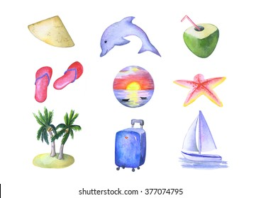 Watercolor clipart vacation and travel hand-painted on white background, exotic tropical island holiday, isolated elements - dolphin, sailing boat, Vietnam traditional hat, coconut, starfish, beach