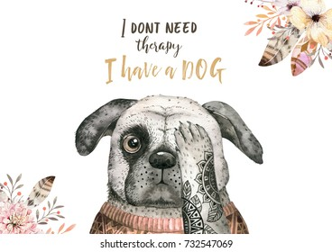 Watercolor closeup portrait of cute dog. Isolated on white background. . Hand drawn sweet home pet. Greeting card animal nursary design
