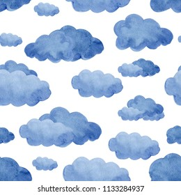 Watercolor clouds seamless pattern. Perfect for wrapping paper, kids textil. isolated on white background.