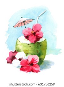 Watercolor Cocktail Drink in Coconut Shell Hand Painted Beach Tropical Caribbean Vacation Summer Illustration