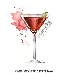 Watercolor cocktail illustration. It can be used for menu, card, postcard, banner, poster.