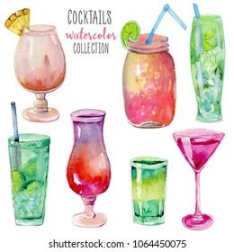 Watercolor cocktails collection, hand painted on a white background