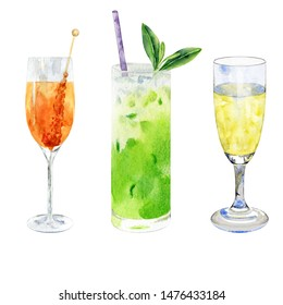 Watercolor cocktails isolated on white. Hand drawn illustration of matcha smoothie, glass of champagne and orange drink.