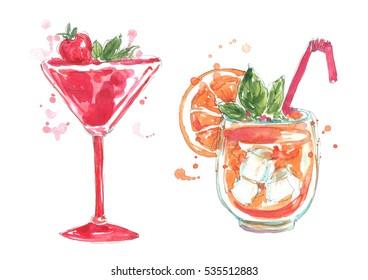 Watercolor cocktails set.