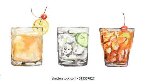 watercolor cocktails set. Isolated glasses with alcohol drinks on white background.
